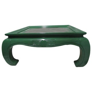 Greek Key Green Lacquered Ming Style Coffee Table