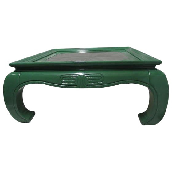 Greek Key Green Lacquered Ming Style Coffee Table - Image 1 of 5