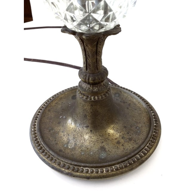 Antique Glass & Brass Pineapple Style Table Lamp - Image 9 of 10