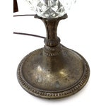 Image of Antique Glass & Brass Pineapple Style Table Lamp