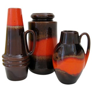 West German Ceramic Vases - Set of 3