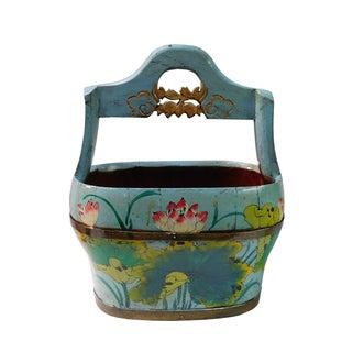 Ocean Blue Wood Lotus Flower Water Bucket