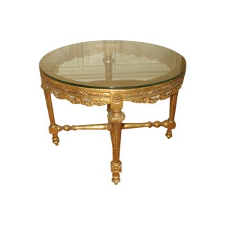 French 19th C. Hand Carved Gilt Coffee Table