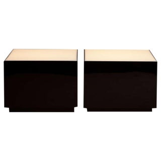 A Pair of Square Black Lacquer Lucite Lightbox Tables 1970s