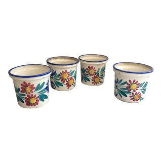 Rustic Italian Handprinted Cachepots - Set of 4