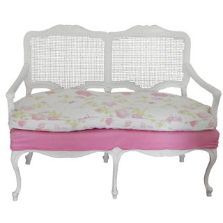 Vintage White Floral Settee