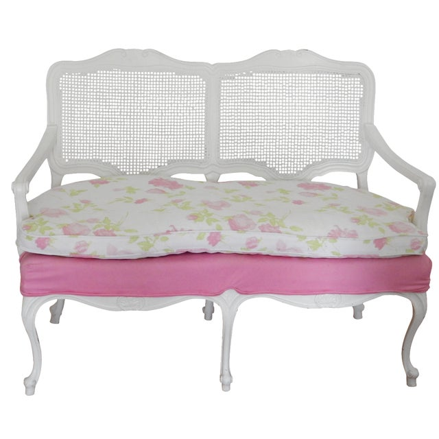 Image of Vintage White Floral Settee