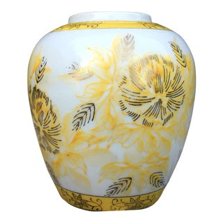 Yellow and White Floral Vase