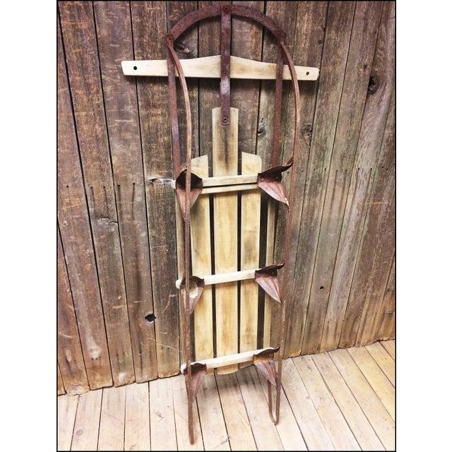 Vintage Brown Weathered Wood & Metal Runner Sled - Image 9 of 11