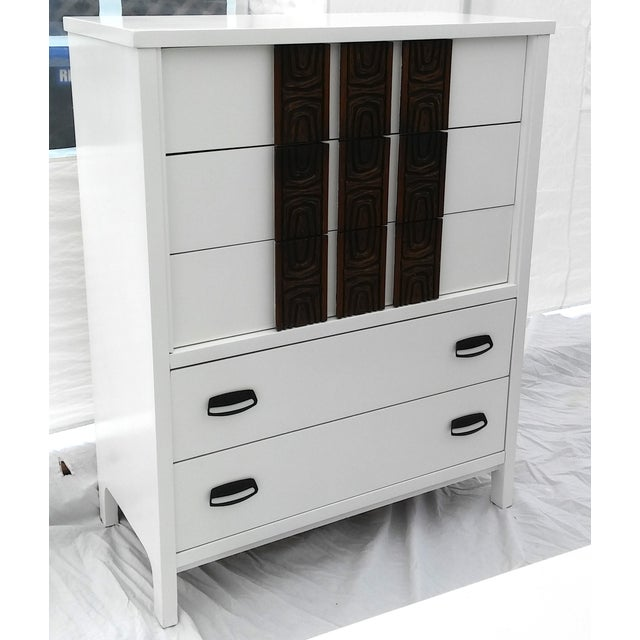 White Lacquered Mid-Century Modern Tall Dresser - Image 2 of 9