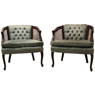 Cane & Tufted-Back Ladies Chairs - A Pair