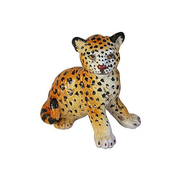 Hand-Painted Italain Terracotta Cheetah - Image 1 of 7