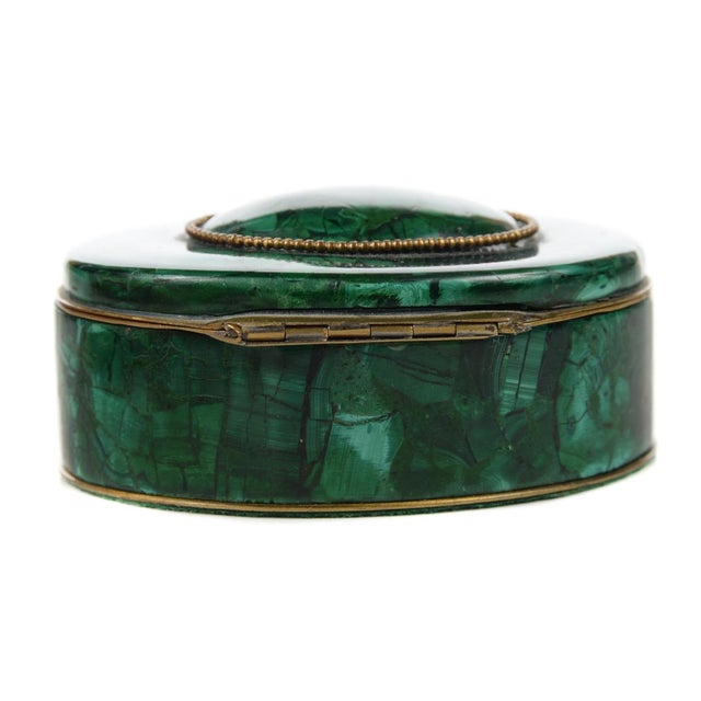 Russian Malachite Oval Compact Jewelry Box - Image 5 of 8