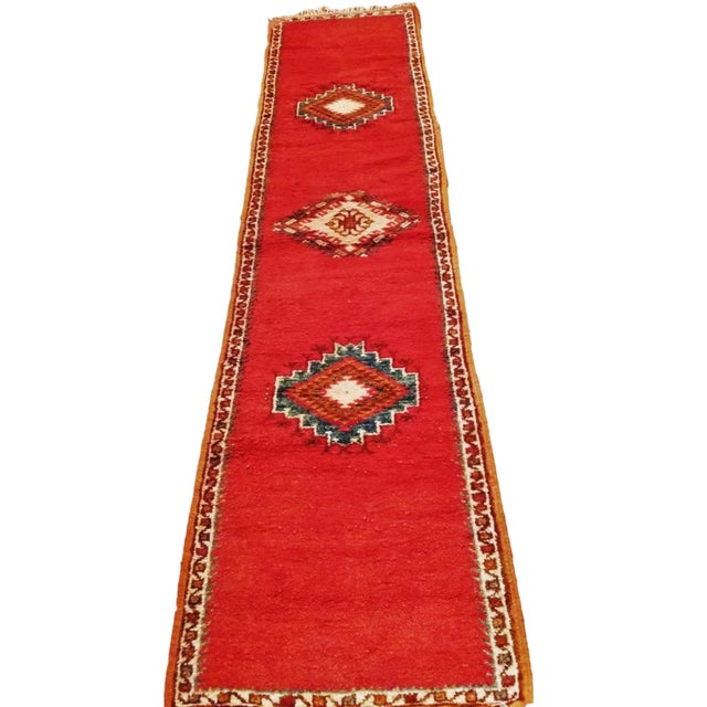 Coral and Turquoise Hallway Runner Pile Rug - Handmade Moroccan Taznacht - 2′3″ × 9′7″ - Image 1 of 7