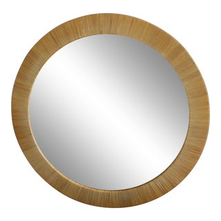 Vintage Large Scale Round Rattan Wall Mirror