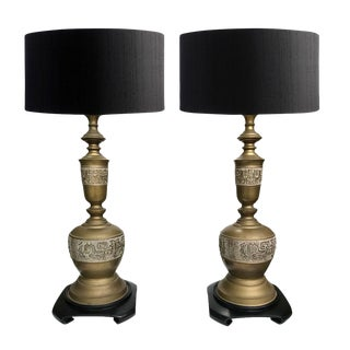 1960s Vintage Asian-Inspired Brass Lamps - a Pair