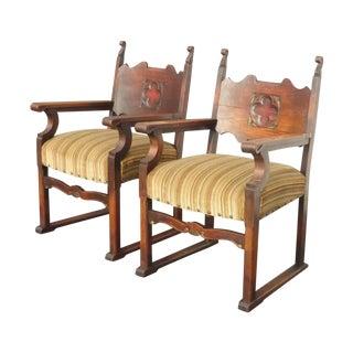 Gothic Spanish Revival Throne Chairs - A Pair