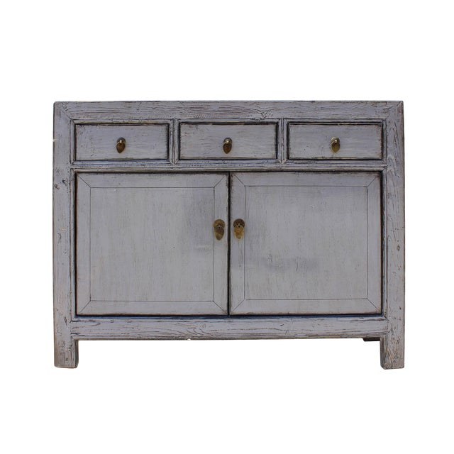 Oriental Credenza: Oriental Simple Light Gray Credenza Sideboard Buffet Table