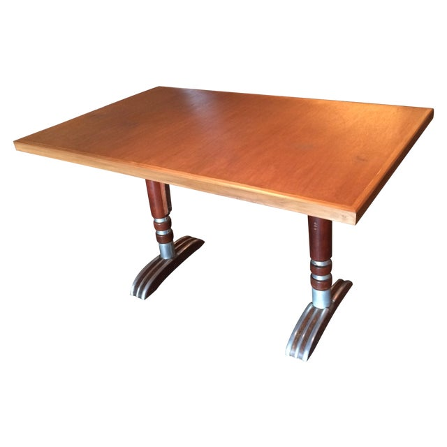 Vintage French Art Deco Bistro Dining Table - Image 1 of 8