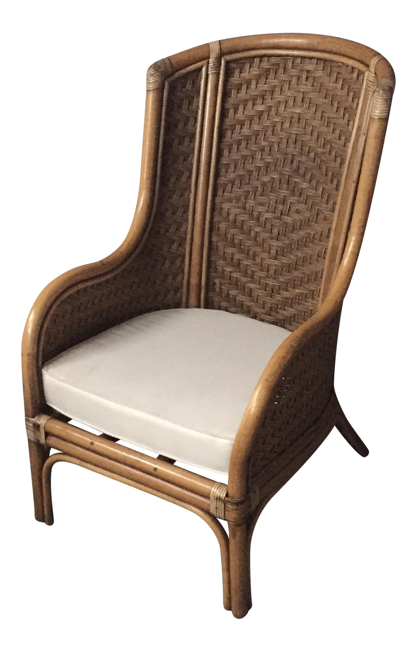 Panamanian Rattan Wingback Chair   Image 1 Of 11