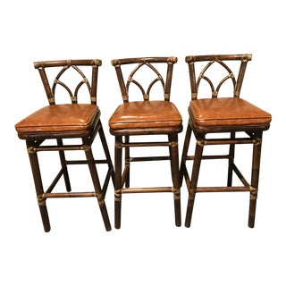 McGuire Leather Wrapped Rattan Bar Stools - Set of 3
