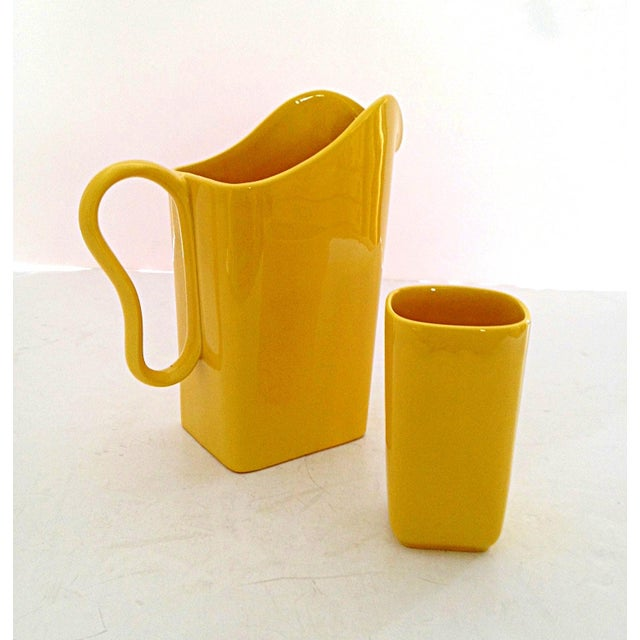 Image of Franciscan Yellow Pitcher and Cup Set