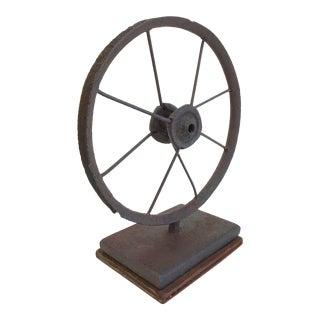 Mounted Antique Iron Wheel