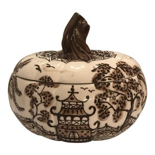 Brown Porcelain Hand Painted Pumpkin Tureen