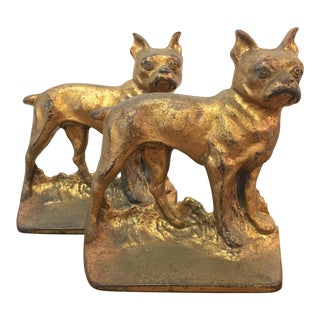 Antique Cast Iron Boston Terrier Bookends - A Pair