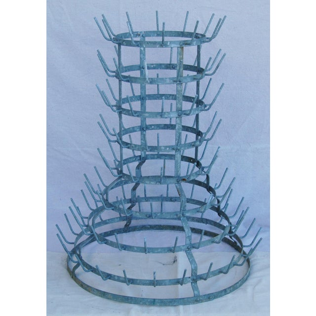Early 1900s French Zinc Bottle Drying Rack - Image 9 of 9
