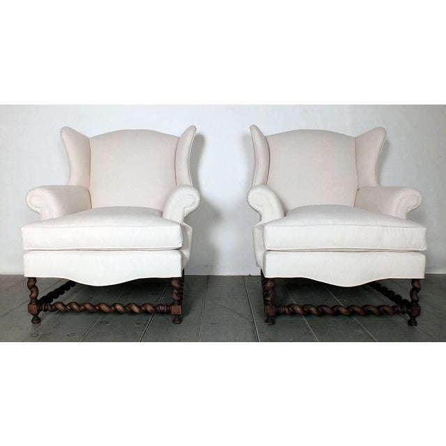Antique Traditional Wingback Chairs - A Pair - Image 3 of 9