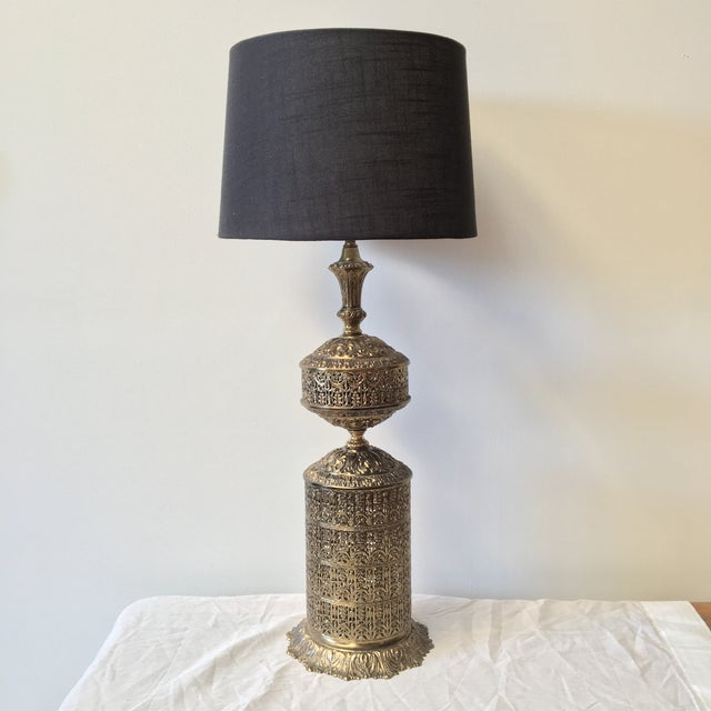 Moroccan Filigree Brass Lamp - Image 2 of 5