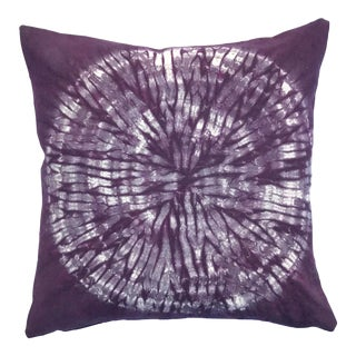 Eggplant Nui Shibori Circle Pillow Cover