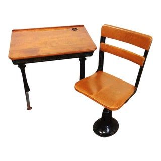 Antique American Seating Cast Iron Student School Desk & Chair