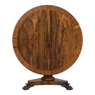 Antique English Rosewood and Walnut Tilt Top Table circa 1835