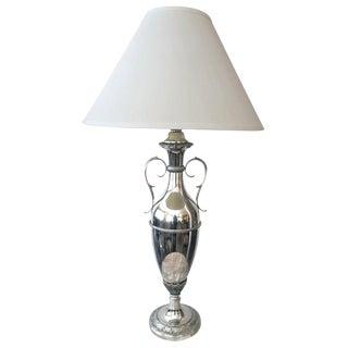 A Sleek American Art Deco Nickel-Plated Urn-Form Lamp