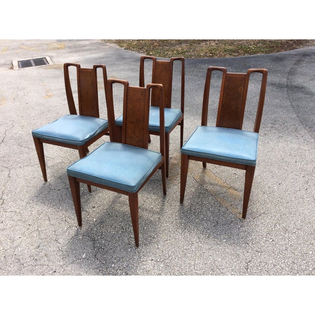 Mid-Century Modern Curved Burl Wood Dining Chairs- Set of 4 - Image 3 of 10