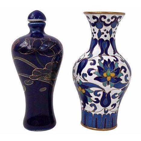 Image of Enamel Vase & Cobalt Snuff Bottle- A Pair