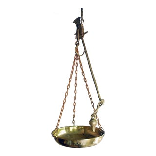Antique Brass Hanging Scales From Belgium