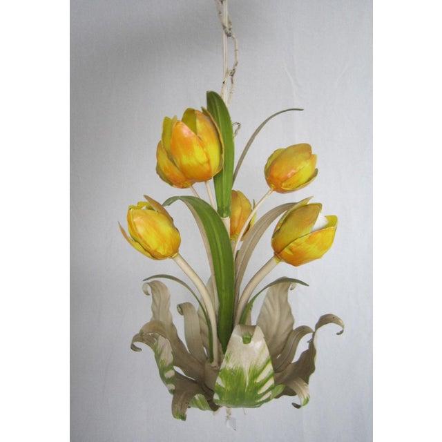 Italian Tole Tulip Chandelier - Image 2 of 6