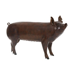 Life-Size Bronze Pig Sculpture