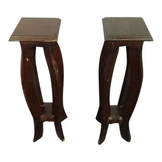 Modern Carved and Painted Oak Plant Stands - A Pair