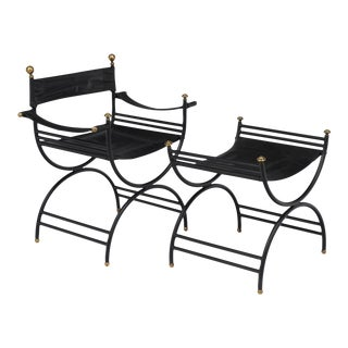 Jacques Adnet Style Armchair with Stool