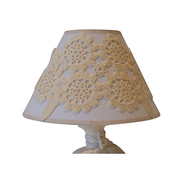 Cream Ceramic Lamp with Custom Shade - Image 3 of 4