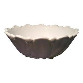 Milk Glass Bowl with Leaf Details
