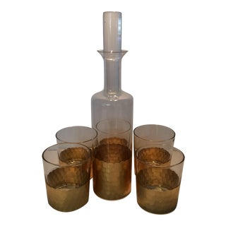Fitz & Floyd Gold Scalloped Crystal Bourbon Set