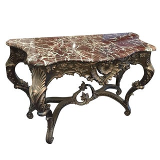 Vintage French Style Marble Top Console Table