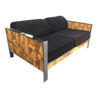 Craft Associates Chrome & Cork Shag Loveseat