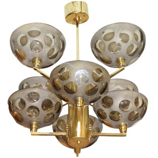 Posh Brass and Glass Stilnovo Chandelier