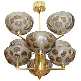 Posh Brass and Glass Stilnovo Chandelier
